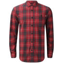 Farah 1920s Men's Hasley Check Long Sleeve Shirt - Red Chilli