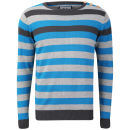 Crosshatch Men's Feda Striped Knitted Jumper - Turkish Blue