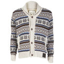 Brave Soul Men's Barker Button Through Cardigan - Ecru Combo