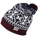 Tokyo Laundry Men's Penda Bobble Hat - Oxblood/Egg Shell/Eclipse Blue