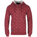 Atticus Men's Printed Zip Through Hoody - Oxblood Red
