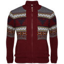 Brave Soul Men's Void Jacquard Printed Zip Thru Knit - Wine
