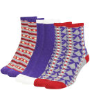Miss Outrage Women's 3 Pack Socks Sweetbox Gift Set - Purple/Grey