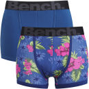 Bench Men's 2 Pack Hibiscus Print Boxers - Navy/Red