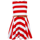 Club L Women's Striped Sleeveless Belted Skater Dress - Coral/White