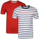 Slazenger Men's 2 Pack T-Shirts - Red/White/Navy