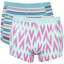 Bjorn Borg Relaxed Stripe & Crystal Healing Men's 2 Pack Boxer Shorts - Maui Blue