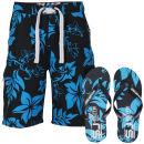 Smith & Jones Aniani Men's Swim Shorts and Flip Flops - Navy