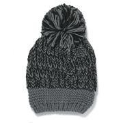 Impulse Women's Neon Knitted Bobble Hat - Black