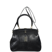 French Connection Women's Sneaky Croc Tote/Crossbody Bag - Black Croc