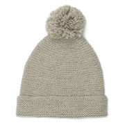 Collective Purl Stitch Beanie Pom Hat - Off White