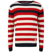 Crosshatch Men's Feda Striped Knitted Jumper - Tango Red