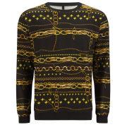 Versus Versace Men's Chain and Links Print Sweatshirt - Black and Stamp