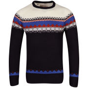 Brave Soul Men's Nial Knit Jumper With Jaquard Detail - Navy
