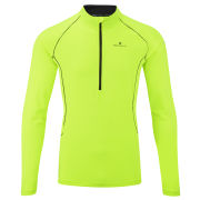 RonHill Men's Base Thermal 200 1/2 Zip T-Shirt - Fluorescent Yellow/Black