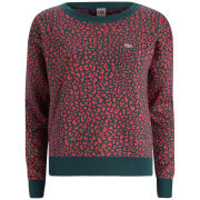 Lacoste L!ve Women's Jacquard Crew Neck - Dark Parrot/Sandalwood