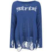 Wildfox Women's Distresses Fine Loose Knit Sweatshirt - Nocturnal