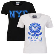 Varsity Team Players Women's 2-Pack  T-Shirt - White Sophomore/Black NYC
