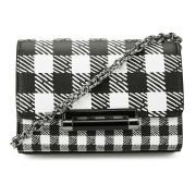 Diane von Furstenberg Women's Micro Mini Gingham Leather Cross Body - Black/White