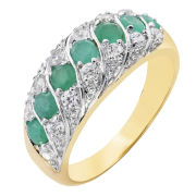 Two Toned Emerald & Cubic Zirconia Band Ring