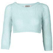 Moku Women's Crop Crochet Open Knit Jumper - Aqua
