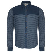 Brave Soul Men's Vanquish Striped Shirt With Plain Contrast Panel - Navy