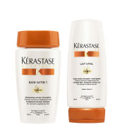 Kerastase Nutritive Bain Satin 1 250ml and Nutritive Lait Vital Irisome 200ml Bundle