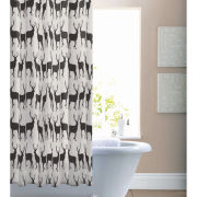Catherine Lansfield Anorak Kissing Stags Shower Curtain - Black