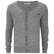 Brave Soul Men's Knitted Cardigan - Black/Ecru Twist