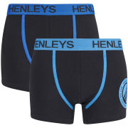 Henleys Men's 2 Pack Boxers - Black/Black