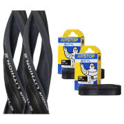 Schwalbe Durano S Clincher Road Tyre Twin Pack with 2 Free Inner Tubes - Black 700c x 23mm