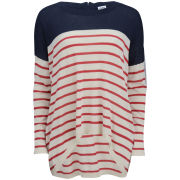 Vero Moda Women's Maddox Stripe Zip Back Jumper - Black Iris/Ski Patrol
