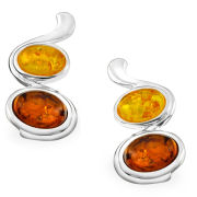 Silver Plated Amber Oval Gem Stone Drop Earrings