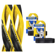 Michelin Lithion 2 Clincher Road Tyre Twin Pack with 2 Free Inner Tubes - Yellow/Black 700c x 23mm