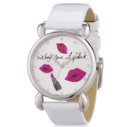 Lulu Guinness Mischief Don't Forget Your Lipstick Patent Leather Watch - White