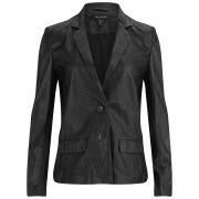 Muubaa Women's Perforated Leather Blazer - Black