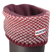 Hunter Women's Bird's Eye Cuff Welly Socks - Beige/Dark Ruby