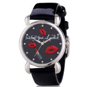 Lulu Guinness Mischief Don't Forget Your Lipstick Patent Leather Watch - Black