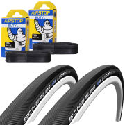 Schwalbe Lugano Clincher Road Tyre Twin Pack with 2 Free Tubes - Black 700c x 25mm