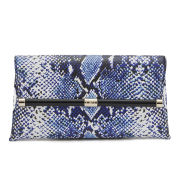 Diane von Furstenberg Women's Heritage Print Leather Clutch - Python Medium Blue