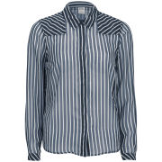 Vero Moda Women's Mini Ship Stripe Long Sleeve Shirt - Black Iris