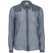 Vero Moda Women's Mini Ship Stripe Long Sleeve Shirt - Black Iris