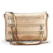 Rebecca Minkoff Women's Mini 5 Zip Metallic Leather Cross Body Bag - Rose Gold