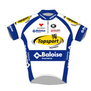 Topsport Vlaanderen Baloise Team Replica Short Sleeve Jersey - White/Blue 2014