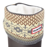Hunter Women's Fairisle Pattern Cuff Welly Socks - Multi Grey/Chocolate
