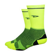 DeFeet Levitator Lite Tall 5 Inch Socks - Neon with Black Stripes