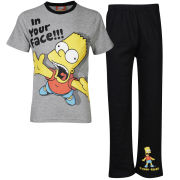 The Simpsons Boys' In Your Face Pyjama Set - Black/Grey Marl