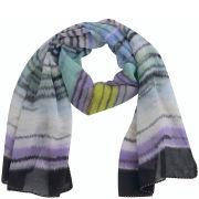 Codello Women's Winter Wonderland Shaded Stripes Waterwashed Scarf - Lilac