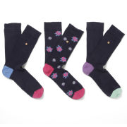 William Hunt Men's Plain Flowers 3 Pack Sock Gift Set - Black/Multi