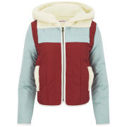 See by Chloe Women's Sky Hooded Puffer Jacket - Light Blue/Red